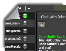 Chat with other users through OneDesk's built-in instant messaging system