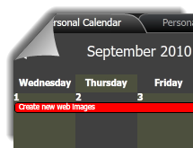 Shared calendar displayed in a member's public profile