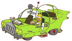 homer simpson on car machine