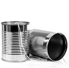 tin cans with strings