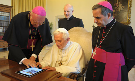 The pope with an iPad at the Vatican