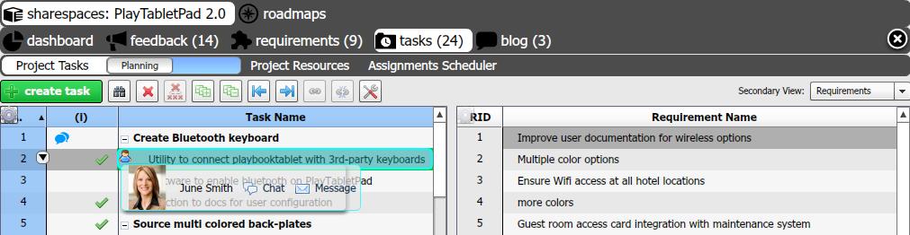tasks view