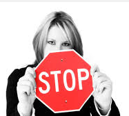 woman with stop sign