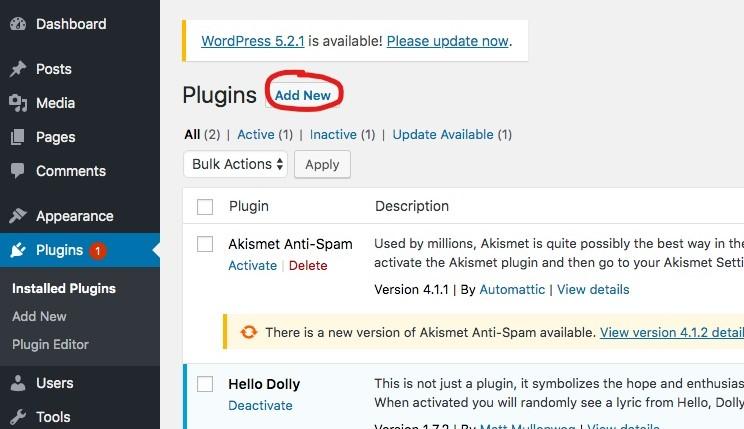 WordPress-Plugins fügen neue hinzu