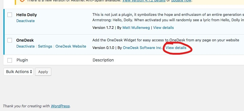 onedesk plugin view details