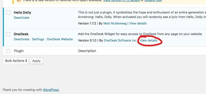 Details zum Onedesk-Plugin anzeigen