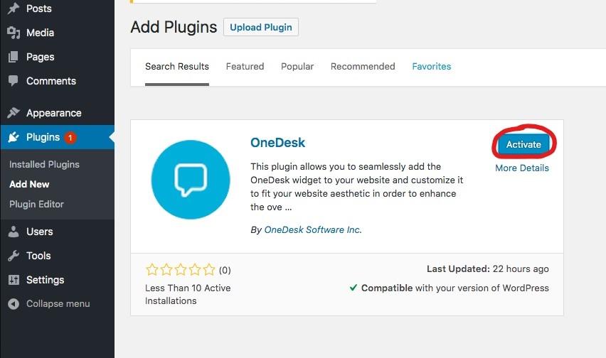 wordpress plugin onedesk activate