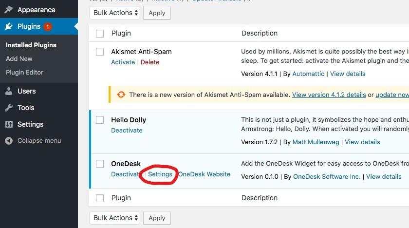 onedesk WordPress Widget Einstellungen