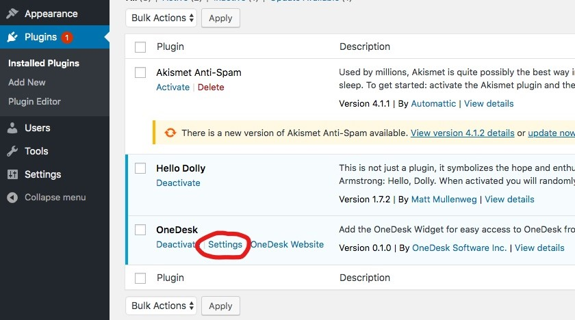 onedesk wordpress widget settings