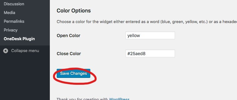 onedesk wordpress plugin save changes