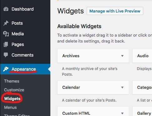 aparência widget wordpress