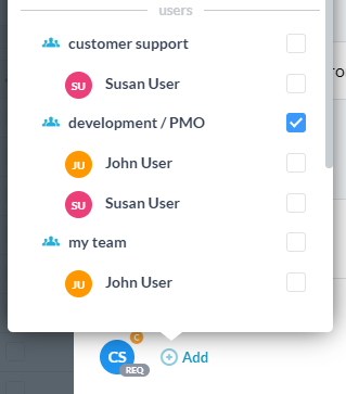 adding team as assignee/follower