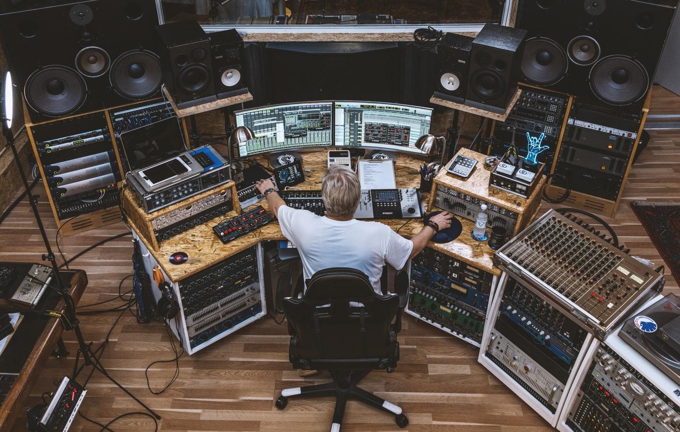 audio editing equipment setup