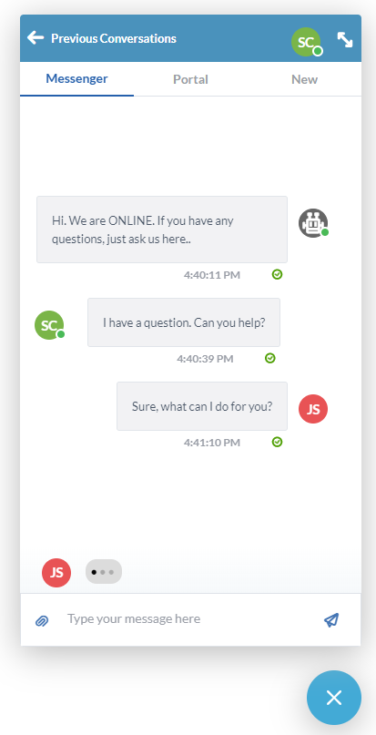 Using the OneDesk messenger application to offer live chat