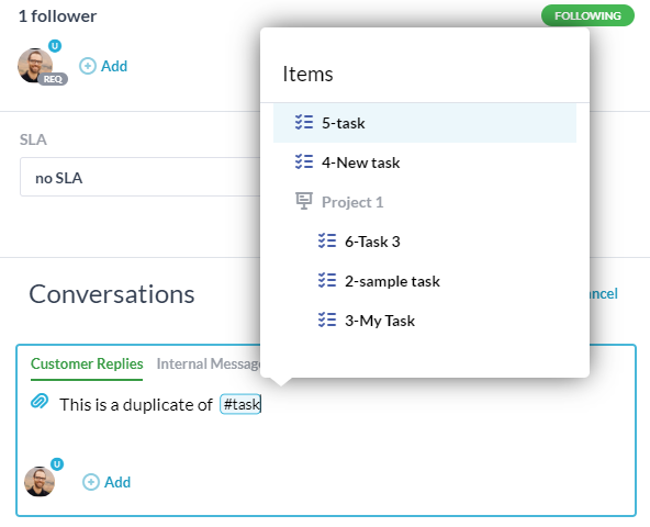 linking items in conversations