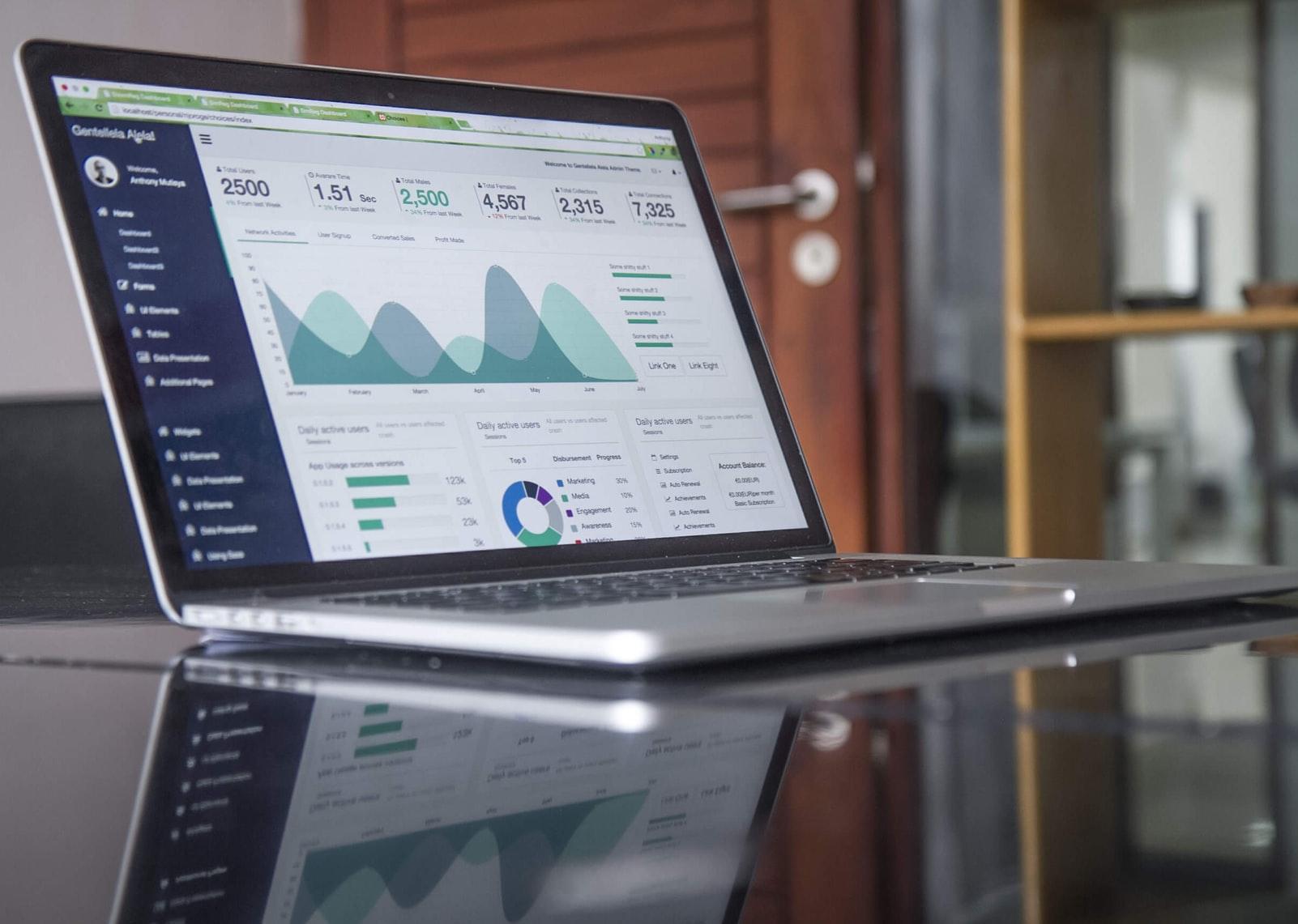 analytics on laptop screen