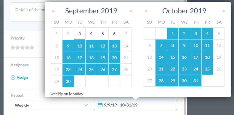 selecting repeat schedule