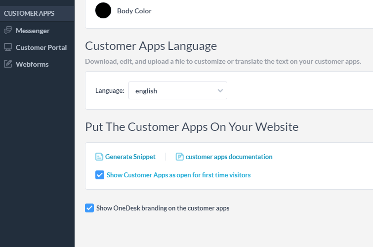 Putting the OneDesk customer apps on your website