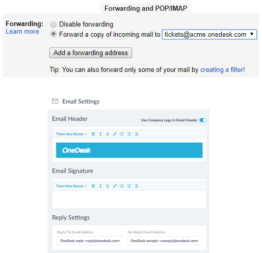 Software de integração de e-mail helpdesk