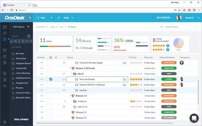 OneDesk Datagrid