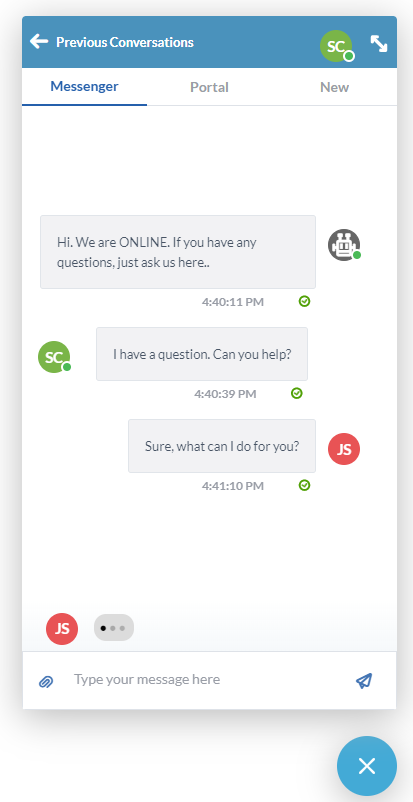 OneDesk Live Chat with Customers
