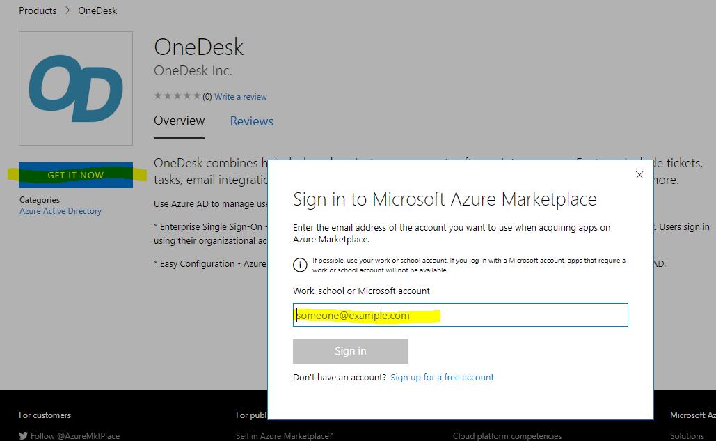 Scaricalo ora su Azure Active Directory maketplace