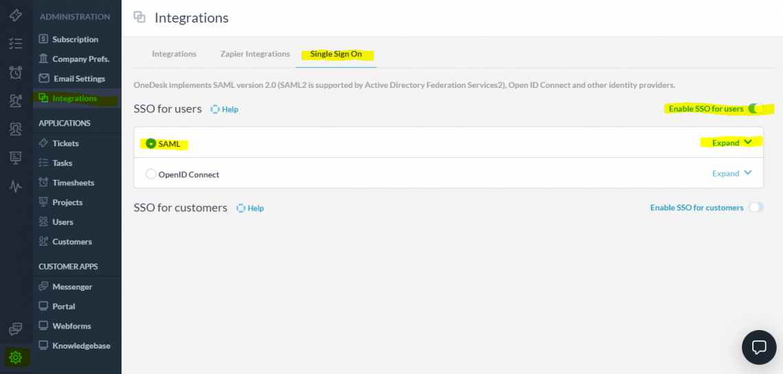 Enable SAML SSO in OneDesk