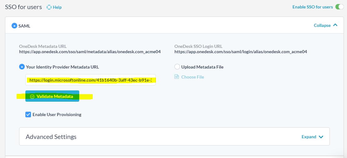 Convalida il file di metadati