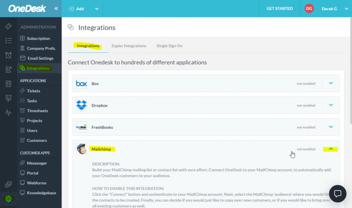Open the Mailchimp Integration panel