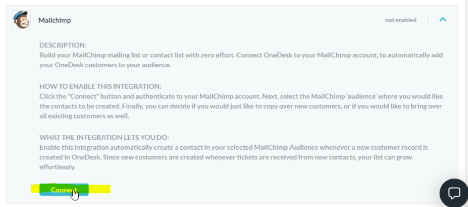 Conecta la integración de Mailchimp