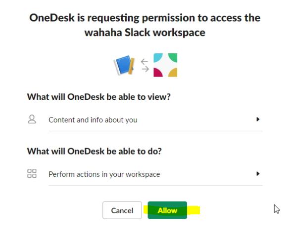 Предоставить разрешения Slack