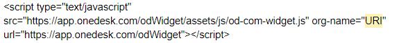 javascript to put the widget on your website