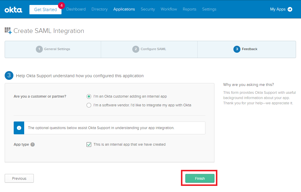 Okta - Create SAML integration