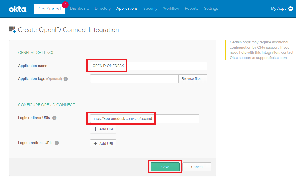 Create openID Connect Integration - Okta