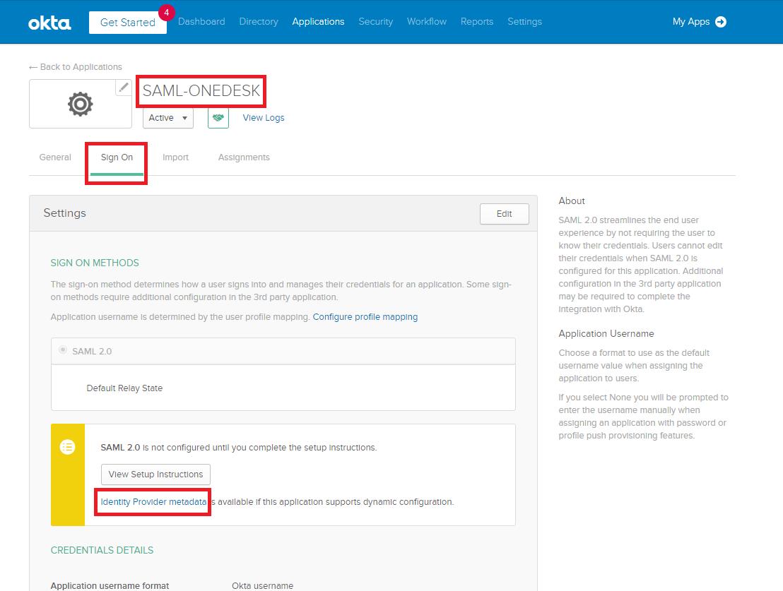 Okta - Identity provider metadata URL