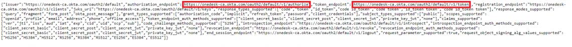 URI de autorización y URL de token: Okta