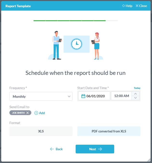 schedule the report XLS