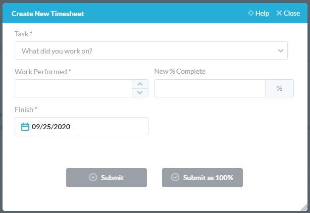formulario de hoja de tiempo mínimo