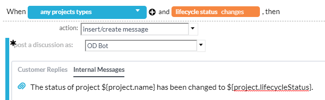 automatic project status change notifications