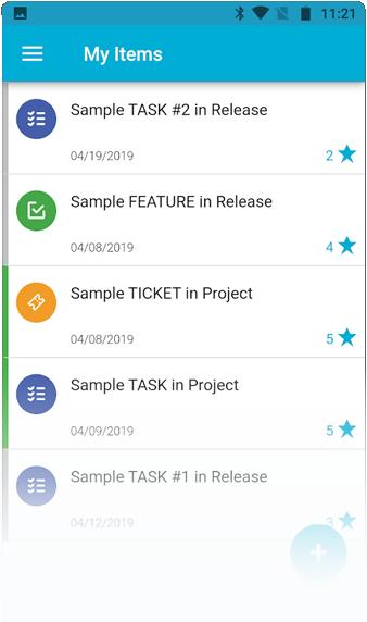 Interfaz de la aplicación móvil