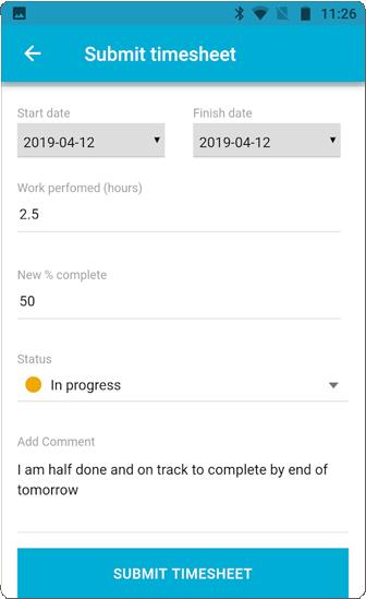 OneDesk Mobile App Timesheet