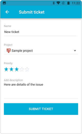 OneDesk Mobile App Ticket
