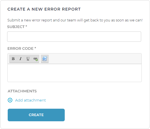 Create a new error report