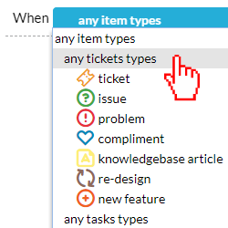 select any tickets type