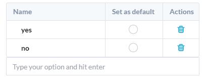 input choices