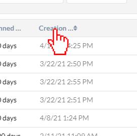 Click creation date data column