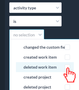 select deleted work item