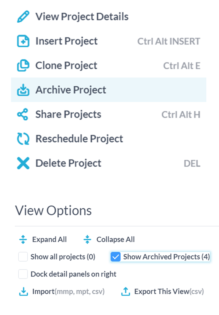 Private Projects & Project Archiving
